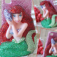 iPhone 4 case Little Mermaid Bling Swarovski crystals Rhinestone Handmade jewel iPhone case Studded Bling Crystals decorate iPhone 4s case