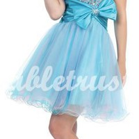 Cute A-line Strapless Sleeveless Organza Short Homecoming Dress-$129.99-ReliableTrustStore.com