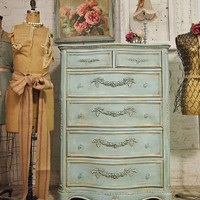 Painted Cottage Aqua Chic Romance Twin Chest by paintedcottages