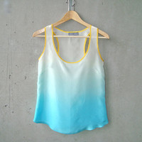 Turquoise Ombré Blouse - contrast yellow trim, hand dye-painted and hand sewn