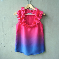 Ruffled Magenta Pink to Navy Ombré Blouse - ruffle neckline, hand dye-painted and hand sewn