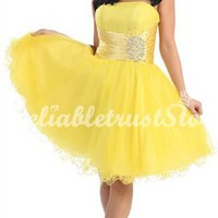 Trendy A-line Strapless Sleeveless Organza Short Homecoming Dress-$128.99-ReliableTrustStore.com