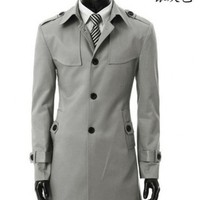 Men New Style Casual Long Sleeve Single-Breasted Light Grey Cotton Coat M/L/XL/XXL/XXXL@S34lg $45.45 only in eFexcity.com.