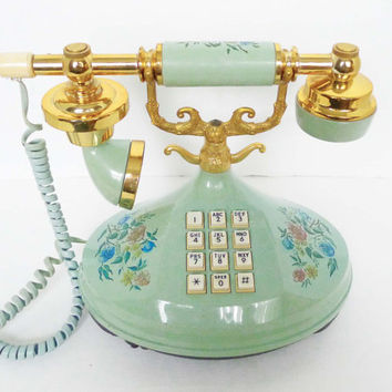 Vintage Empress Mint / Light Teal Florals Printed Princess Phone