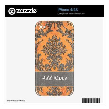 Girly Damask Pattern with Name - Orange and Gray Skins For Iphone 4 from Zazzle.com