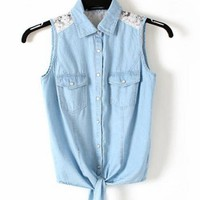 Product search_Blue Denim Vest with Lace_udobuy - Fashion Dress with Free Shipping