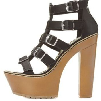 Dollhouse Chunky Platform Strappy Sandals by Charlotte Russe - Black