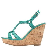 Strappy Cork Platform Wedges by Charlotte Russe - Teal Green