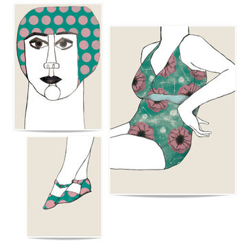 Puzzle print set Woman in swimsuit. Illustrations of a woman in swimsuit. Composition.