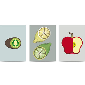 Puzzle set Acid Fruits: Kiwi, lemons and apple. Fruits illustrations for the kitchen or the dining room. Kiwi, lemons, apple composition.