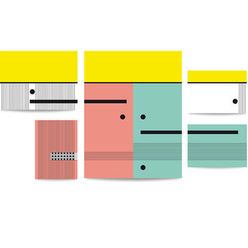 Puzzle set 'Geometrics in mint, lemon and pink colors'. Geometrics illustrations for home decor. Mint, pink and lemon colors. Composition.