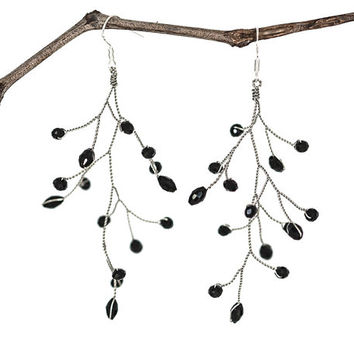 Earrings, Black earrings, Silver earrings, Vine earrings, Twig earrings, Jewelry, Vine jewelry, Dangle earrings, Jewelry vine, Crystals.