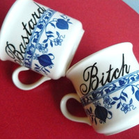 Bitch and Bastard coffee mugs by trixiedelicious on Etsy