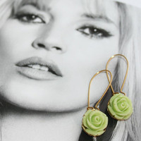 Lime green flower kidney earrings, Lime rose flower golden laces setting Earrings, Vintage garden Rose earrings, Gold filled kidney earwires