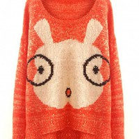 Cartoon Glasses Rabbit Sweaters Orange$50.00