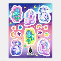 Neon Rainbow Monster Sticker Sheet