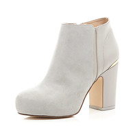 River Island Womens Grey block heel ankle boots