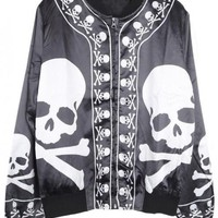 Black &White Skull and Crossbones Printed Silk Jacket$56.00