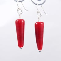 Cherry Glass Earrings Red Cone Lampwork Beads made with Sterling Silver findings - LeTeam