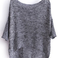 Grey Three Quarter Length Sleeve Dipped Hem Jumper Sweater - Sheinside.com