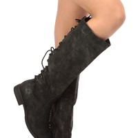 Black Faux Suede Knee High Distressed Boots @ Cicihot Boots Catalog:women's winter boots,leather thigh high boots,black platform knee high boots,over the knee boots,Go Go boots,cowgirl boots,gladiator boots,womens dress boots,skirt boots.