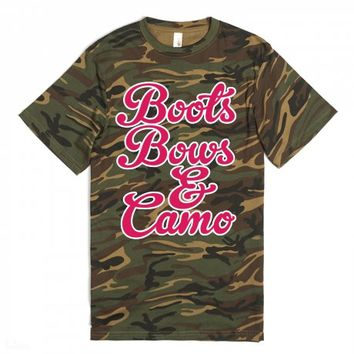 Boots, Bows, and Camo-Unisex Green T-Shirt