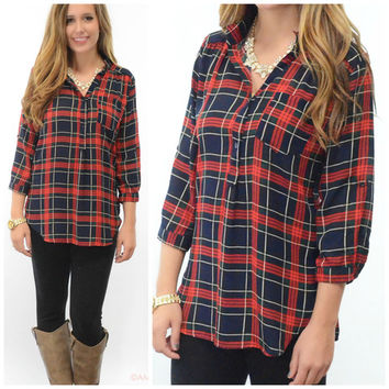 Rhode Island Rendezvous Navy & Red Plaid Top