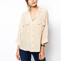 ASOS Blouse With Double Pocket And Batwing Sleeve
