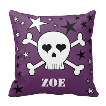 Purple Customizeable Crossbone Skull and Stars