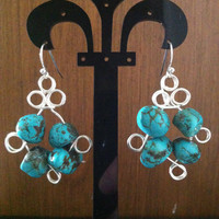 Uniquely wire wrapped turquoise nuggets