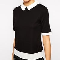 New Look Contrast Collar And Hem T-Shirt