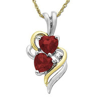 5.0mm Heart-Shaped Lab-Created Ruby Double Swirl Heart Pendant in Sterling Silver and 14K Gold