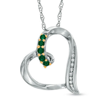 Lab-Created Emerald and Diamond Accent Looping Heart Pendant in Sterling Silver