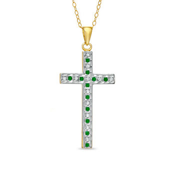 Emerald Gemstone Fascination™ and Diamond Fascination™ Cross Pendant in Sterling Silver with 18K Gold Plating