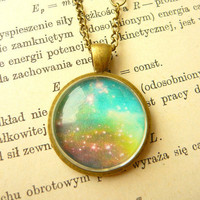 Retro Space, Galaxy Long Neckace - Free Shipping - Made to order :)