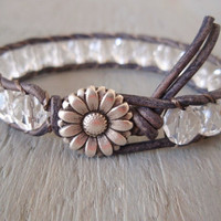 "Shabby chic leather wrap bracelet, ""Crystal Clear"", neutral clear, distressed gray leather, silver daisy flower, everyday boho chic"