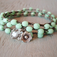 Mint green beaded bohemian crochet wrap bracelet necklace &#x27;Spring Flowers&#x27; boho jewelry, minty pastel opal, featured on ETSY&#x27;s front page