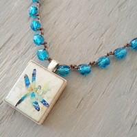 Dragonfly tile crochet necklace, Scrabble wood pendant, Mediterranean blue, teal, bohemian jewelry, nature, unique fun boho chic, on SALE
