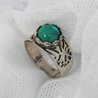 Sterling silver & Turquoise lotus ring (sr-9702)