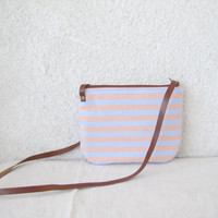 Summer stripes, small shoulder bag, leather strap