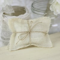 Burlap Ring Bearer Pillow Rustic Wedding Decor TINY (item PI10278)