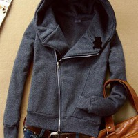 Deep Gray Hooded Zip Long-sleeved Panda Sweatshirt $41.00