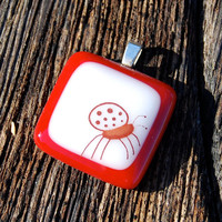 Ladybug Fused Glass Pendant Good Luck Charm Jewelry Poppy Red