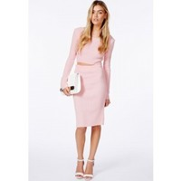 Missguided - Miliana Baby Pink Knit Crop Top