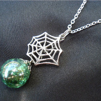Spider Web Green Fried Marble Crystal Chain Necklace