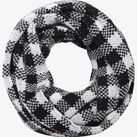 WINDOWPANE WOOL BLEND INFINITY SCARF - WHITE from EXPRESS