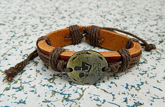 12 animal zodiac  Adjustable bracelet  bracelet Cowhide Leather hipster jewelry leather bracelet wooden  bead and hollowed tube