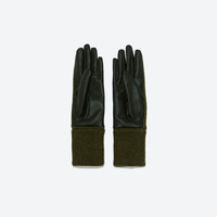 Faux leather combined long gloves