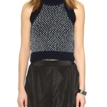 Chenille Fence Crop Knit