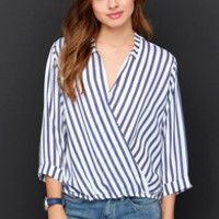 Stripe Me Up Ivory and Navy Blue Striped Top